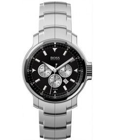 Hugo Boss Watches Mens Silver Tri Dial Black Face Watch
