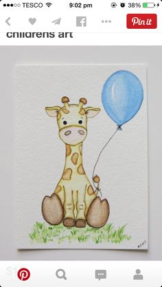 Giraffe and Balloon, Watercolor painting, nursery painting, original painting…