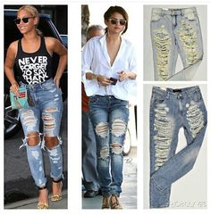 Distressed and ripped jeans are a summer must have. Ss 15, Ripped Jeans, Must Haves, Capri Pants, Summer, Fashion, Tattered Jeans, Moda, Capri Trousers