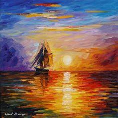 Misty Ship — ship oil painting on canvas by Leonid Afremov. Ship art. Ship…