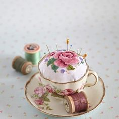 Vintage Teacup...re-purposed into a shabby chic pincushion.