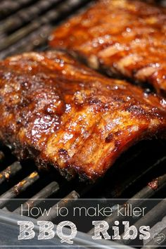 This is the best grilled barbecue ribs recipe that we've ever made, and continue. - This is the best grilled barbecue ribs recipe that we've ever made, and continue to make year aft - Grilled Bbq Ribs, Bbq Beef Ribs, Pork Back Ribs, Grilling Ribs, Cooking Ribs On Grill, Barbecued Ribs, Marinade For Pork Ribs, Baby Back Ribs Rub, Grilled Baby Back Ribs