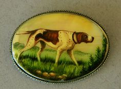 Reverse Painted Pointer Dog Brooch from antiquepooch on Ruby Lane