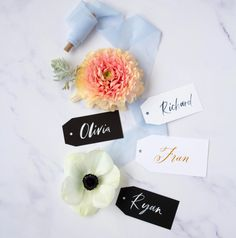 Calligraphy Name Tags - Susan Brand Designs Calligraphy Name, Calligraphy Envelope, Brush Lettering, Hand Lettering, Wedding Favors, Wedding Day, Tent Cards, Addressing Envelopes, Gold Ink