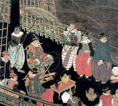 PORTUGUESE MERCHANTS awaiting the arrival of Japanese officials aboard their ship to discuss the trade of goods, such as silks from China: detail from a Japanese Namban ('barbarian') screen, attributed to Kano Domi, 1593-1600.