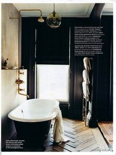 domino bathroom: best.  bathroom.  ever.  love the floor, love the black, love it all