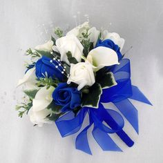 WEDDING FLOWERS BOUQUETS - BRIDE BRIDESMAIDS POSY CALA LILIES & ROYAL BLUE ROSES in Home, Furniture & DIY, Wedding Supplies, Flowers, Petals & Garlands | eBay