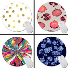 Polka Dot New Small Size Round Mouse Pad Non-Skid Rubber Pad