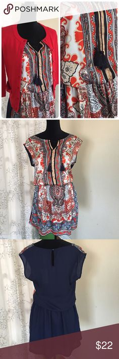 NWT Sleveless multicolour dress Polyester with lining from the waist bottom. Length about 36. No filter has been used for the picts. The Kate Spade red cardigan also available for sale. Label size is M/L Dresses Mini