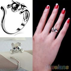 Las-mujeres-gato-adorable-gatito-plateado-plata-cristal-Animal-ojos-anillo-de