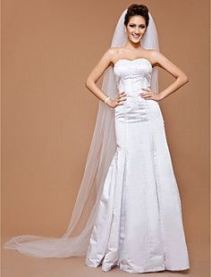 One-tier Tulle Chapel Wedding Veil With Cut Edge (More Color... – AUD $ 17.21
