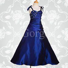Flower Girl Dress Wedding Bridesmaid Ball Gown Party Royal Blue Age 2y-12y #167