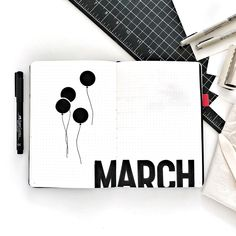Bullet journal monthly cover page, March cover page, balloon drawing. | @pacificnotation