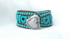 turquoise gemstone,turquoise heart,turquoise bracelet,turquoise wrap,leather wrap,wrap bracelet,leather cuff,western bracelet,boho Check out this item in my Etsy shop https://www.etsy.com/listing/264551664/turquoise-gemstoneturquoise