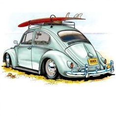 Retro cars illustration vw bus New ideas Retro Cars, Vintage Cars, Retro Vintage, Auto Illustration, Carros Retro, Vw Beach, French Images, Kdf Wagen, Bmw Autos