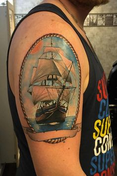 Realistic Ship Tattoo Design by Anna Nygren