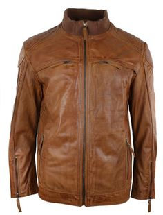 Mens Real Leather Biker Style Jacket Soft Tan Leather Great For Smart Or Casual Wear. #Biker #Style #Jacket #fashion #leather #menswear #shopping