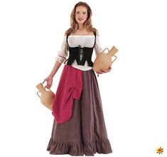 Apr 2020 - A Tavern Maiden Eliana Adult Costume for Halloween and Carnival Parties! Period Costumes, Adult Costumes, Costumes For Women, Corset Noir, Eliana, Fantasy Dress, Historical Clothing, Beautiful Dresses, Lace Skirt