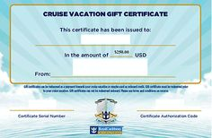 Cruise Vacation Gift Certificate