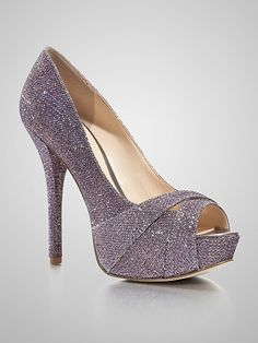GUESS 'Isila' Glistening Lavender Fabric peep-toe covered platform stiletto heel Pump