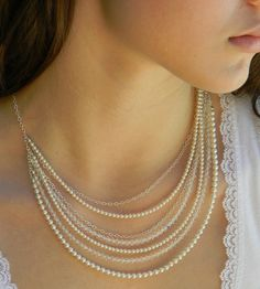 Pearl Crystal wedding necklace, Crystal Bridal necklace, chunky Multistrand, dainty, delicate,  Marilyn necklace