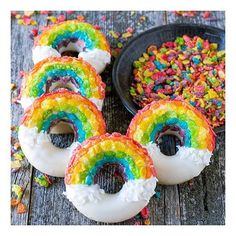 These Lisa Frank-inspired Rainbow Cereal Donuts look so yummy.
