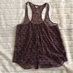 Aerie tank top Aerie brown flower flowy tank top, sheer aerie Tops Tank Tops