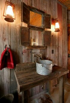 rustikale Badezimmer holz waschbecken idee