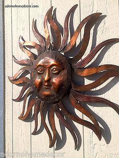 Large Metal Sun Wall Decor Rustic Garden Art for sale online Garden Wall Art, Metal Garden Art, Sun Wall Decor, Rustic Wall Decor, Metal Sun Wall Art, Metal Art, Large Outdoor Wall Art, Art For Sale Online, Sun Art