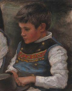 Portrait d'un enfant breton en costume 20x25cm