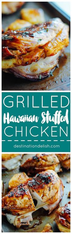 Grilled chicken breasts stuffed with ham, pineapple and provolone cheese and brushed with a pineapple teriyaki glaze. Summer grilling perfection!  @kikkomanusa @walmart #ad #KickinItWithKikkoman