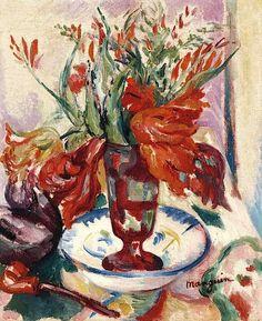 Henri Manguin, Tulipes dans un verre rouge on ArtStack #henri-manguin #art