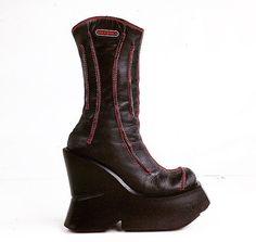 HEX // 90's Mega Platform Sculptural Wedge Cyber Boots by FeelingVagueVintage