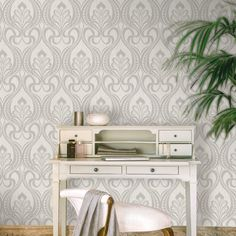Art Nouveau Wallpaper Grandeco Damask Glitter - Silver - http://godecorating.co.uk/art-nouveau-wallpaper-grandeco-damask-glitter-wallpaper-silver/