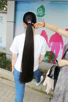 Long Hair Ponytail, Ponytail Hairstyles, Long Black Hair, Long Hair Cuts, Forced Haircut, Thick Braid, Super Long Hair, Shoulder Length Hair, Hair Lengths