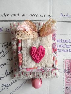 Embroidered heart brooch textile art fiber arts by giovabrusa