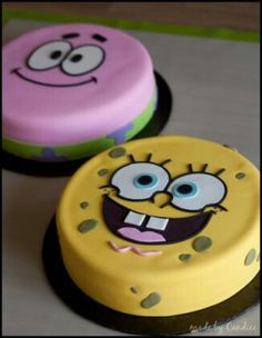 SpongeBob Birthday Party Cakes, SpongeBob Pumpkin Centerpiece and Decoration ideas , Food ideas Spongebob Torte, Spongebob Pumpkin, Cake Decorating Tips, Cookie Decorating, Fondant Cakes, Cupcake Cakes, Cake Fondant, 3d Cakes, Fondant Figures