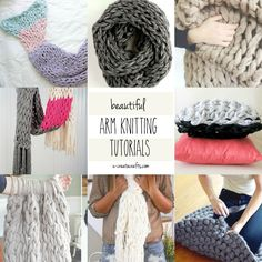 Who else is in love with the chunky knitting look that you can only get from arm knitting? It's beautiful, it's comfortable…it's GORGEOUS. Find these beautiful arm knitting tutorials from these talented ladies. It's easier than it looks and once you start you can't stop! How to Arm Knit a Mermaid Blanket by Simply Maggie …