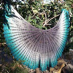 Fan Dance Capelet - free crochet crescent pattern by Melody Tallon.