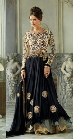 USD 143.88 Cream and Black Designer Layer Cut Anarkali Suit 40467