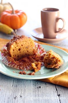 Karina's Kitchen featuring her favorite GF pumpkin recipes.    Gluten-Free Goddess Pumpkin Streusel Muffins