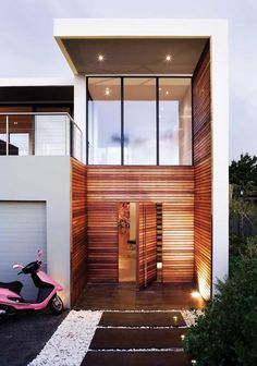 Modern contemporary wooden house entrance exterior