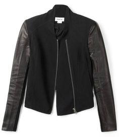 helmut lang leather sleeved jacket