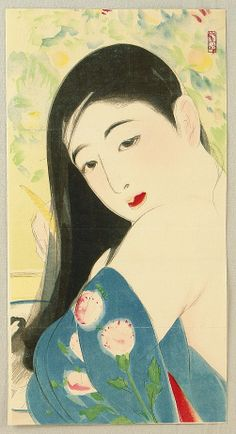 More beautiful women byTerashima Shimei (Japanese, 1892-1975).  He studied drawing, poetry calligraphy, and literature from childhood, and when he was 21, he studied under Kaburaki Kiyokata. Adding his unique pictorial vision to the emotional style he absorbed from his master, he produced artistic portraits of beautiful women.