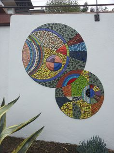 interlocking circles mosaic mural  Unique Artwork