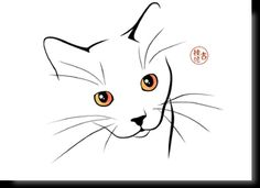 Cartes postales d'art félines Cat Drawing, Line Drawing, Painting & Drawing, Cat Doodle, Doodle Art, Cat Quilt, Cat Cards, Animal Coloring Pages, Cat Tattoo