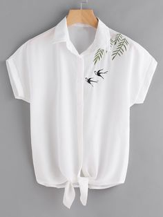 Swallows Embroidered Self Tie Front Shirt -SheIn(Sheinside) - Swallows Embroide. - - Swallows Embroidered Self Tie Front Shirt -SheIn(Sheinside) – Swallows Embroidered Self Tie Front Shirt -SheIn(Sheinside) Source by safoof – Source by MRWomens Embroidery On Clothes, Shirt Embroidery, Embroidered Clothes, Embroidery Designs, Casual Tops For Women, Blouses For Women, Ladies Tops, T-shirt Broderie, Mein Style