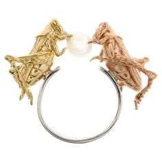 "DELFINA DELETTREZ Ring.""Double Cricket"" ring, silver ring, gold-plated silver insects."