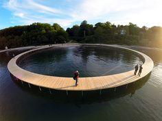 gjøde & povlsgaard arkitekter elevates the infinite bridge over danish coast