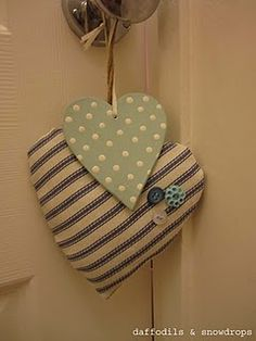 Stripe heart - handmade by Em@daffodils&snowdrops; Blue spot heart - The Lemon Tree, Harrogate